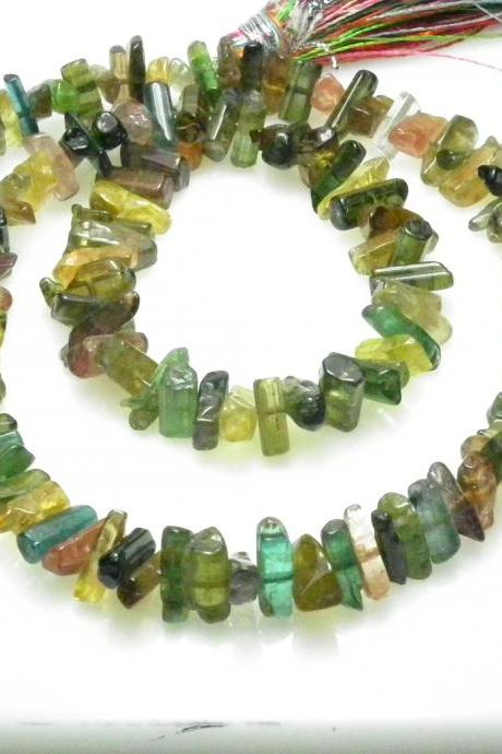 Natural Top Multi Tourmaline Sticks Uncut String Weight 70-Cts (12-inches) Free Shipping